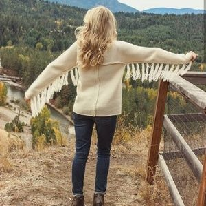 Fringe Wing Raw Edge Cream Sweater